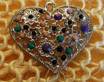 """1.5"""" SilverHeart Shaped Pendant with Multicolored Beads in Flower Design"""