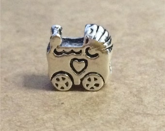 4 Sterling Silver Baby Carriage Beads for European Bracelet, Pram Beads 2-Sided, 925 Silver Large Hole Beads, Baby Car Beads - FT954