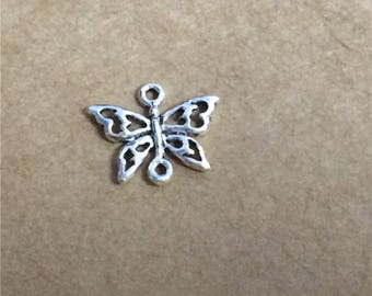 10 Sterling Silver Butterfly Connector Charms, 925 Silver Hollow Butterfly Connectors, Bracelet Connectors - FT978