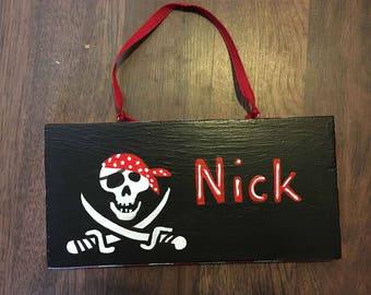 name sign, kids name sign, boys door sign, pirate name sign, custom pirate name plaque
