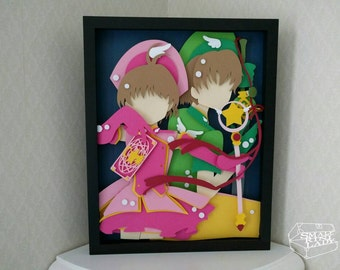 "Sakura and Syaoran Paper Cut Art Piece  Shadowbox Frame 11""x14"" - Original"