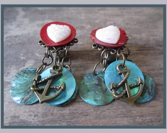 Chains of the Sea dangle stretched earrings EAR PLUGS pick gauge - 4g, 2g, 0g AKA 5mm, 6mm, 8mm.
