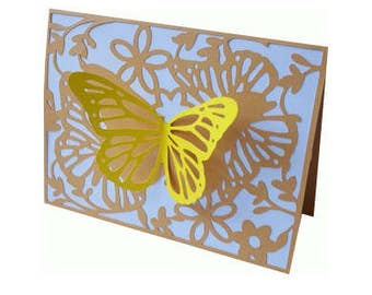Butterfly and flowers 3D Blank Card , Yellow , Free Confetti , Leafs , Fly , Spring