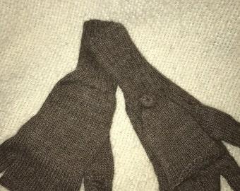 Alpaca Glittens mittens fingerless gloves-convertible gloves-high quality  Rose Brown