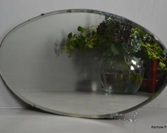Vintage Retro Oval Frameless Mirror