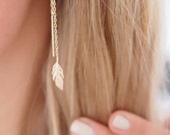 Earrings long, dangling through leaves - plated gold 750/000 - gold plated earrings
