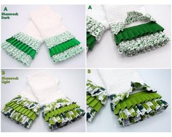 Ruffled Kitchen Towels, Kitchen Linen, Kitchen Decor, Decorative Towel, Irish Towel, St. Patricks Day Towels, Shamrock Towels, SOLD IN PAIRS