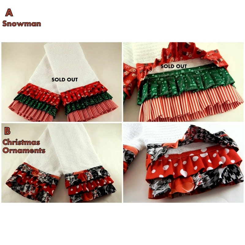 Ruffled Kitchen Towel Christmas Decor Christmas Towels