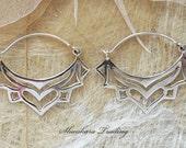 Sterling Silver Lotus Earrings Tribal Hoop Earrings Boho Silver Earrings Gypsy Hoop Earrings Bohemian Jewellery