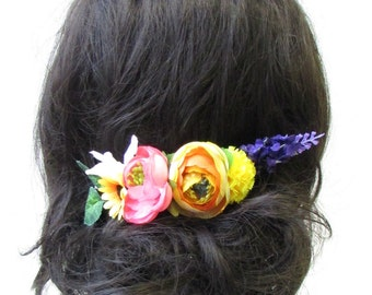 Lavender Rose Sunflower Flower Hair Comb Bridesmaid Headpiece Yellow Purple 1645