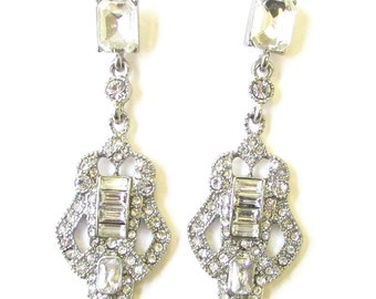 Silver Art Deco Bridal Earrings Drop Stud 1920s Great Gatsby Wedding Vtg 1909