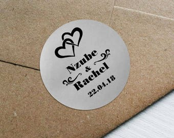 SIiver Foil Personalized Wedding Candy wrappers/ stickers for Favors / envelope seals #A