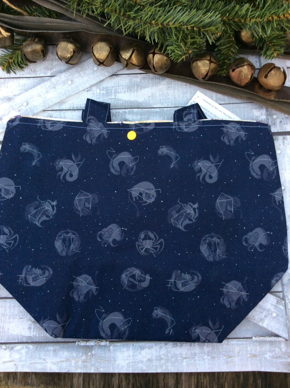 Knitting Project Bag-Extra Large Star Constellation Bag,Toad Hollow Bag,Crochet Project Bag,Louisa bag,xlarge yarn keeper,wedge knitting bag