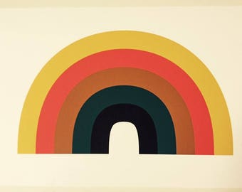 Rainbow Print Fine Art Archival Giclee design retro vintage 1970s wall art decor