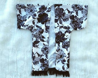 Black and white floral kimono, flower kimono, baby kimono, child kimono, toddler kimono, baby swim suit cover up, beach cover up,