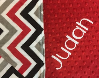 Adult Blanket Baby Blanket Red Baby Blanket Red Chevron Blanket Red Grey Black White Chevron Red Adult Blanket Made to Order
