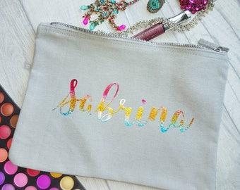 Rainbow Personalised Name Make Up Bag