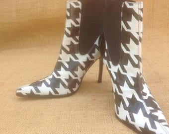 Dolce and Gabbana Houndstooth Ankle Booties with Spike Heel