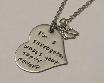 Surrogate Necklace, Surrogacy piece, I'm a surrogate, whats your super power, Family Necklace, Surrogacy Necklace, Surrogate Gift, Surrogate