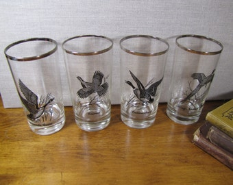 Set of Four (4) Waterfowl Drinking Glasses - Platinum Accent