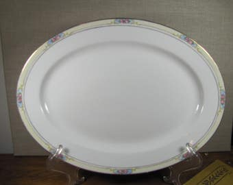 Noritake - The Celtic - Large Serving Platter - Made in Japan - Blue Panels - Pink Flowers - Pale Yellow Band - Gold Accent