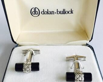Cuff Links Sterling Silver Dolan Bullock Vintage Black