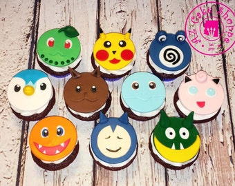 Edible Pokemon Fondant Cupcake Toppers