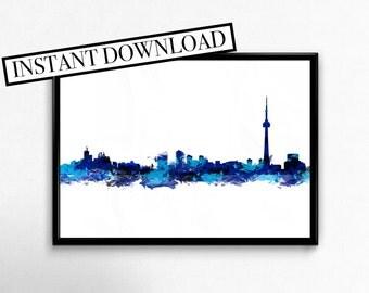 Toronto Watercolor Skyline Instant Download Print, toronto city skyline, city skyline, watercolor print, city watercolor print
