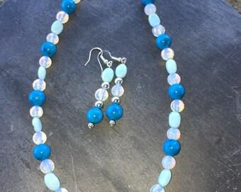 Blue Opal Necklace Set