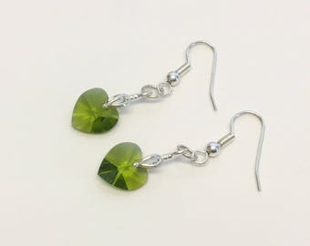 Faceted Crystal Cut Glass Heart Dangle Earrings - Silver Plate Green Crystal Hearts - Mother's Day Gift - Bridal Jewelry - Bridesmaid Gift