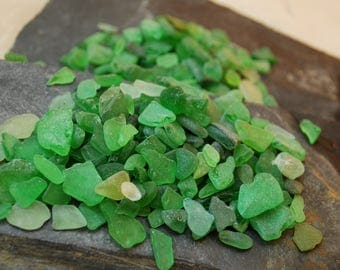 1/2 pound of genuine sea glass of green, olive, light and gark green colors. Small glass. Natural real sea glass Mediterranean Sea. REF d12