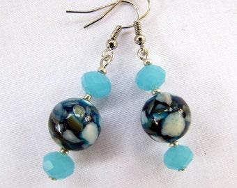 Beautiful Original Tiffany Blue Cut Crystal and Mother of Pearl Bead Drop Earrings