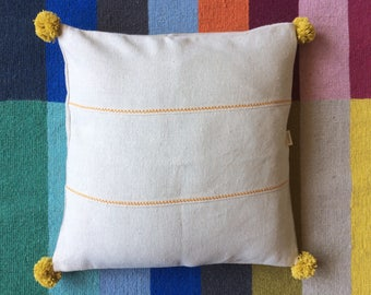 Hemp linen cushion cover, Pompom pillow, Boho style cushion, Linen pillow, Yellow