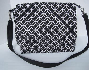 Handbag Purse Messenger Fabric Women's Accessories Black/White Crossbody