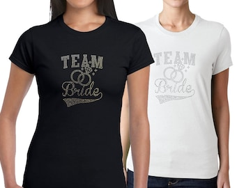Personalised 'Team Bride - Diamond Ring' Diamante T-Shirt- Perfect Hen Party/Wedding gift! Bridal present idea (DT1102)