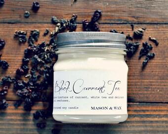 Black Currant Tea Mason Jar Soy candle
