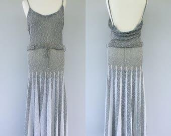 Vintage 80s Knit Dress, Grey White Dress, Knitted Dress, Summer Dress, Wool Dress, Holiday, Boho, Flapper Dress, Size 10