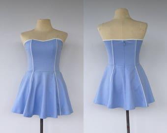 Vintage 90s Corset Dress, Blue Dress, Skater Dress, Strapless Dress, Mini Dress, Cheerleading Dress, Fancy Dress, Size 8
