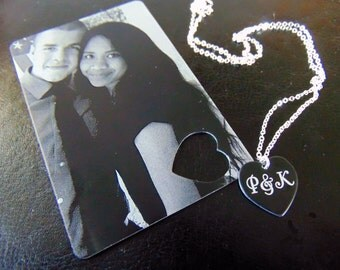 Picture Wallet Card with Heart Cutout, Heart Necklace- Photo on Front,text or handwriting on back,Heart necklace