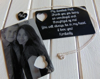 Picture Wallet Card with Heart Cutout, Heart Necklace- Photo on Front, text or handwriting on back,