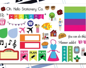 45 Sticker Large Sampler Set  - Planner Stickers for Erin Condren Life Planners - S4