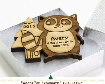 Personalized Ornament // Little Rascal Lemur Ornament Woodland Ornament // Custom Christmas Ornament Baby's First Christmas Ornament SKU#336