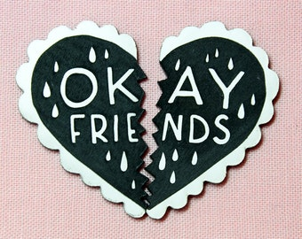 Okay Friends Pin Set, an alternative to best friends charms, black and white, laser cut acrylic