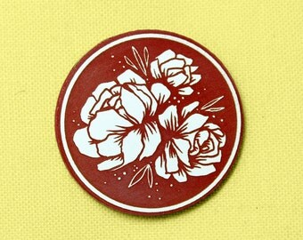 Floral Peony Pin, red and white, laser cut acrylic