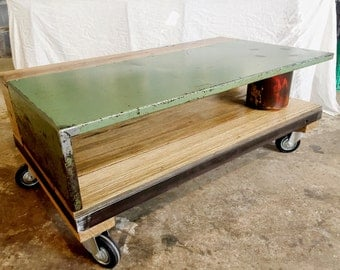 Industrial style recycled wood and steel coffee table