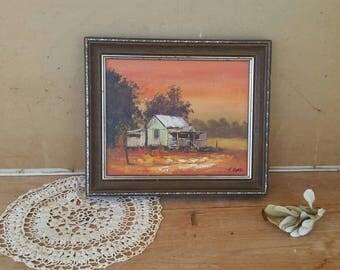Vintage oil painting/ Australiana shack/ landscape/ signed and framed/ lovely old piece