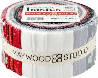 """Kimberbell Basics Red Black and White 2.5"""" Strip Jelly Rolls from Maywood by the pack"""