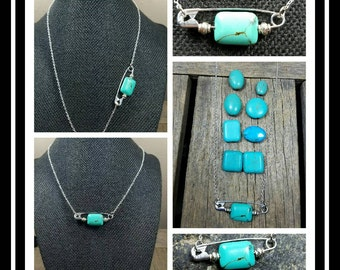 Solidarity Safety Pin Necklace/ Turquoise Stone/Safety Pin