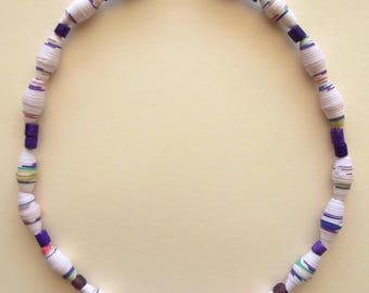 Cream and Violet Necklace, Paper Necklace, Recycled Paper, Magazine Paper Necklace, Czech Crystal Beads