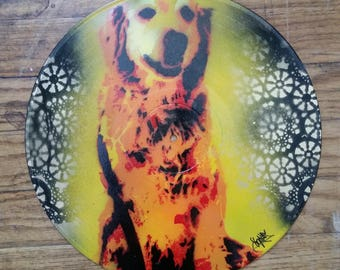 Dog Portrait Stencil On Repurposed Vinyl Record